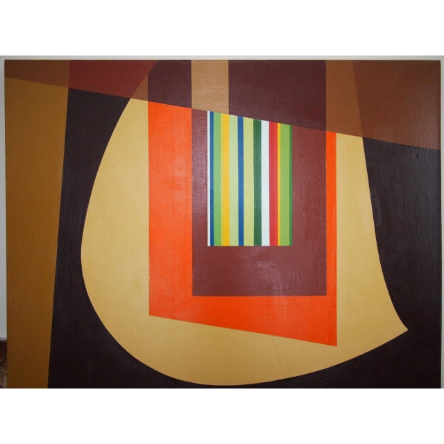 Canvas 1972 Original Vintage Jervis Abstract Mid-Century Modern Hard Edge Oil on Canvas Painting For Sale - Image 7 of 7