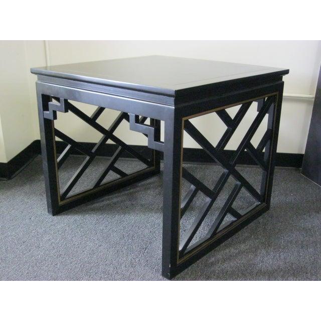 Dorothy Draper Kindel Square Trellis Lamp Table For Sale - Image 5 of 10