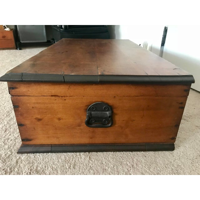 Americana 19th Century Americana Wood Trunk-Chest with Handle For Sale - Image 3 of 10