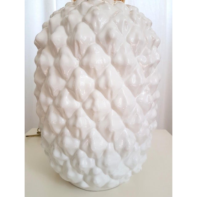 1970s Large Ceramic Pineapple Lamp, Mid Century Modern, France by Maison Lancel For Sale - Image 5 of 11