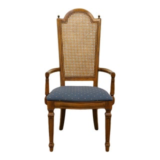 Thomasville Furniture Cellini Collection Cane Back Dining Arm Chair For Sale