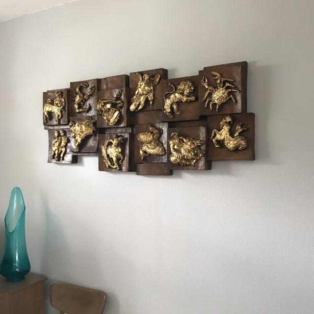 Fabulous, mid century modern, early 1970's zodiac Relief wall art by Finesse Originals. Made of Fiberglass so it is...