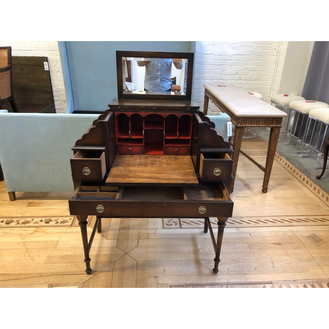 Rustic Antique Wood Writing Table + Vanity For Sale - Image 3 of 13