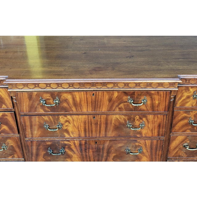 W. & J. Sloane Antique 1920s W&j Sloane Flame 12 Drawer Mahogany Dresser ~ Hallway Cabinet For Sale - Image 4 of 13
