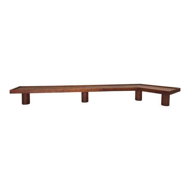 Mid Century Monumental Angled Walnut Bench - Image 1 of 6