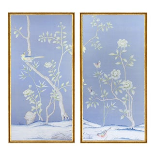 """Jardins en Fleur """"Furness"""" Chinoiserie Hand-Painted Silk Diptych by Simon Paul Scott in Italian Gold Frame - a Pair For Sale"""