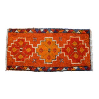 """Distressed Low Pile Turkish Yastik Petite Rug Hand Knotted Faded Mat - 19'' X 37""""'' For Sale"""