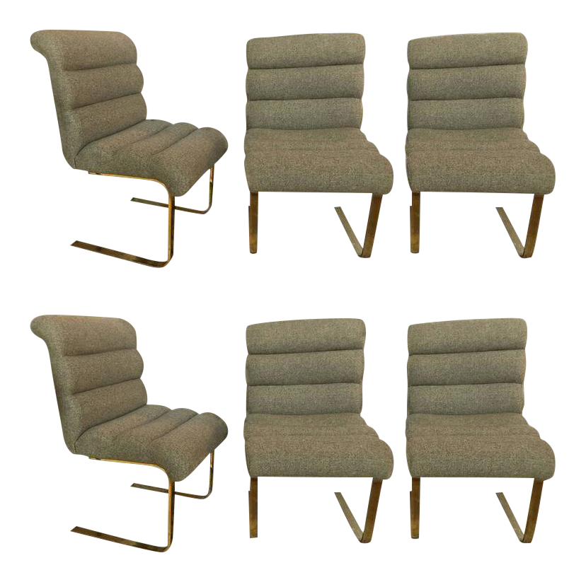 Hollywood Regency Brass Base Dining Chairs   Set Of 6 For Sale
