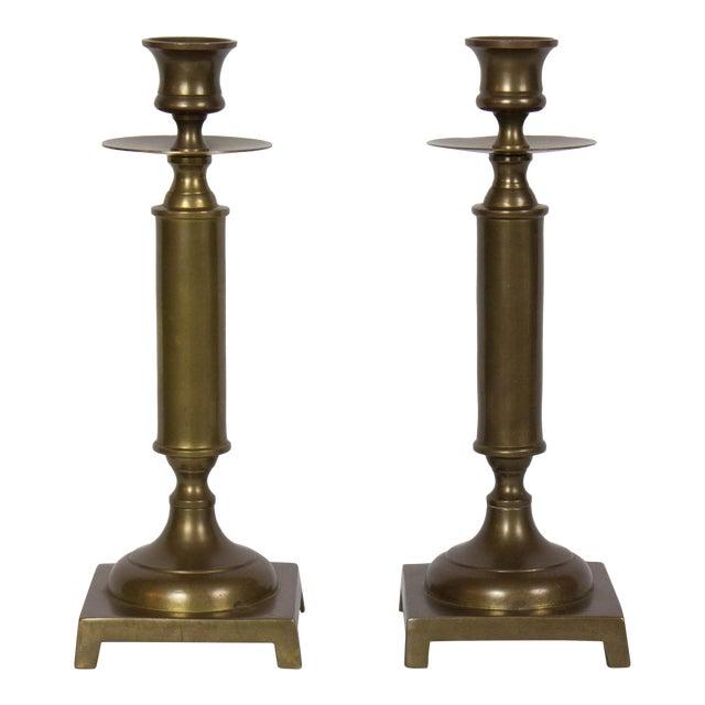 Antiqued Brass Column Candlesticks - a Pair For Sale