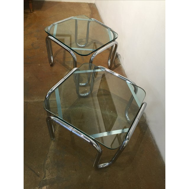 Vintage Chrome & Glass End Tables - A Pair - Image 6 of 6