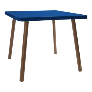 """Tippy Toe Small Square 23.5"""" Kids Table in Walnut With Pacific Blue Finish Accent For Sale"""