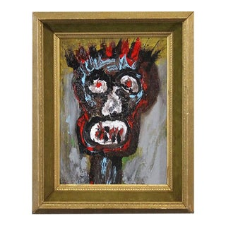 1980s Post Modern Grotesque Head Framed Portrait Painting After Jean-Michel Basquiat For Sale