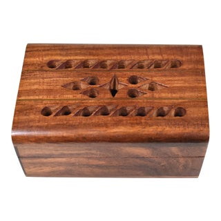 Mid 20th Century Vintage Hand Made Carved Inlaid Wooden Box For Sale
