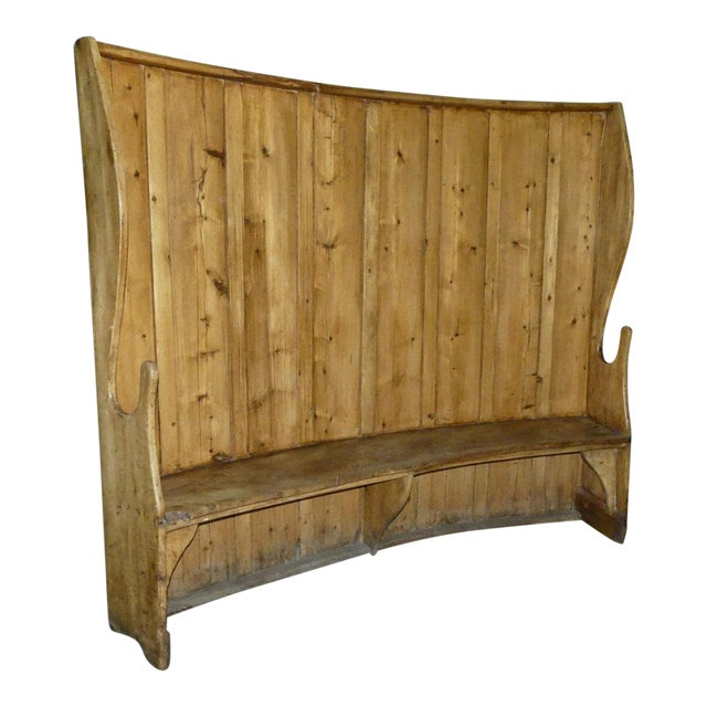 19th Century Antique High Back Curved Pine Fireside Or Pub Bench