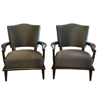Mid-Century Modern French Oak Lounge Chairs by Etienne Henri Martin - a Pair For Sale