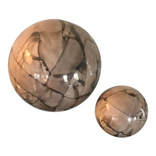 Faux Marble Ceramic Orbs - a Pair For Sale
