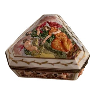 Mid 19th Century Antique French Haviland Porcelain Jewelry Box For Sale