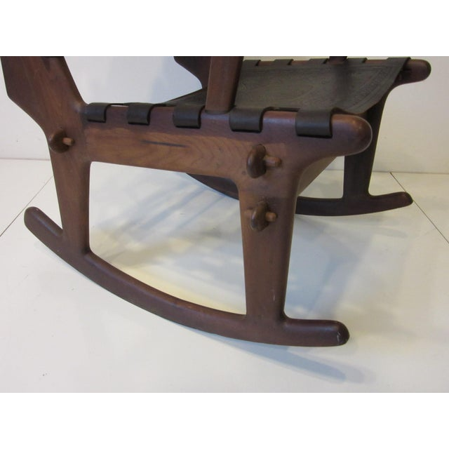 Wood Angel Pazmino Mid Century Sculptural Rosewood Rocking Chair For Sale - Image 7 of 12
