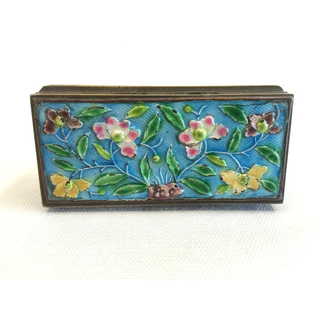 Vintage Chinese Enameled Brass Trinket Box - Image 5 of 7