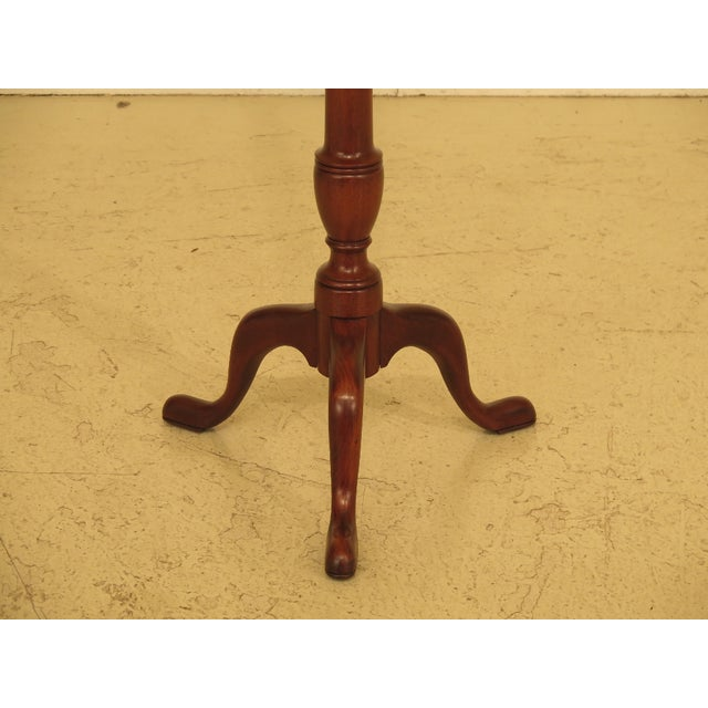 Henkel Harris 1980s Queen Anne Henkel Harris Tall Mahogany Pedestal Table For Sale - Image 4 of 7