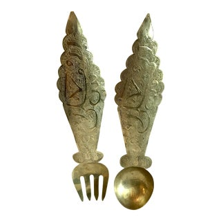20th Century Asian Brass Etched Fork and Spoon Wall Hanging - a Pair For Sale