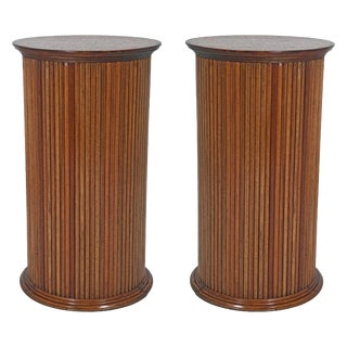 1970s Vintage Fruitwood Reeded Column Pedestals - a Pair For Sale