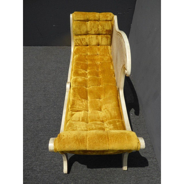 French Provincial White Cane & Gold Velvet Bench Settee For Sale In Los Angeles - Image 6 of 11