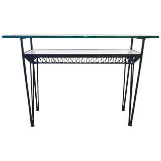 Iron Base Glass Top Shelved Console Table For Sale