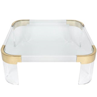 "Charles Hollis Jones Lucite and Solid Brass Coffee Table ""Waterfall Line"" For Sale"
