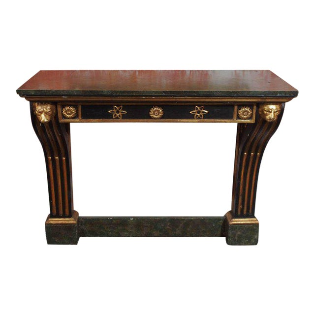 Antique French Painted and Gold Leaf Console in Neoclassic Style, circa 1860 For Sale
