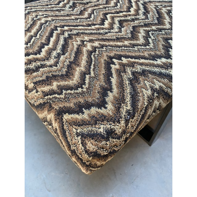 Modern Kravet Missoni Flame-Stitch and Chrome Bench For Sale In West Palm - Image 6 of 11