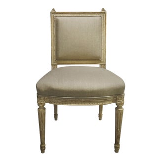 20th Century Louis XVI Linen Upholstered Style Side Chair