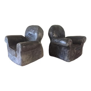 Late 20th Century Signed Eduardo Strauch Club Chair Concrete Bookends - a Pair For Sale