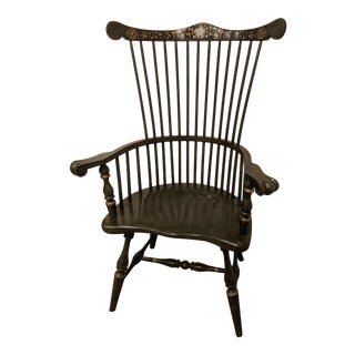 Late 20th Century Windsor Wood Spindle Accent Chair Claw Arms For Sale