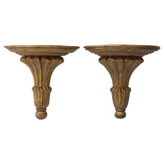 Pair of Large Giltwood Brackets For Sale