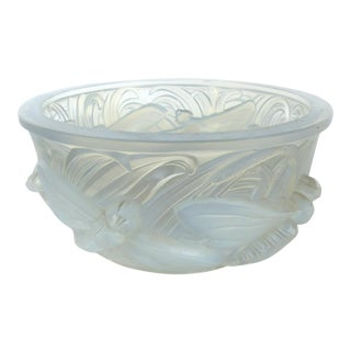 Verlys France Opalescent Glass Dragonfly Bowl For Sale