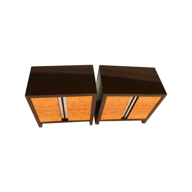 Pair Mid Century Milo Baughman Style Burl Nightstands Tables For Sale - Image 9 of 11