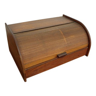 Mid-Century Danish Modern Teak Tambour Roll-Top Storage Box For Sale