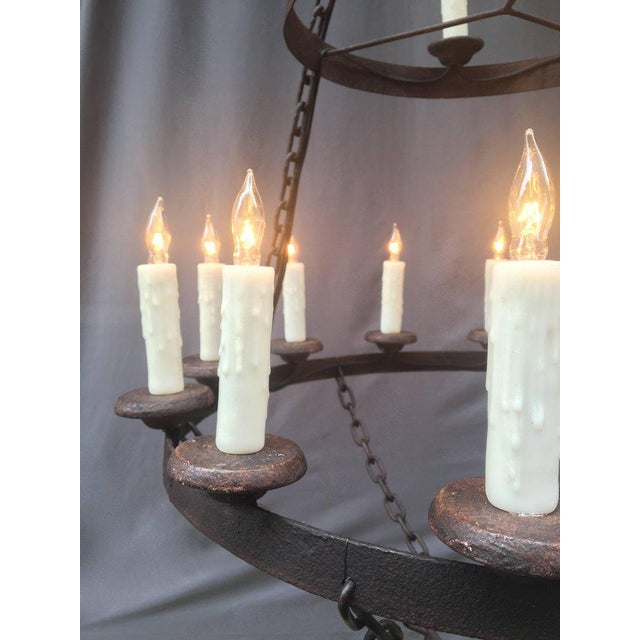 Gothic 18th Century French Originally Pricket Iron Chandelier For Sale - Image 3 of 6