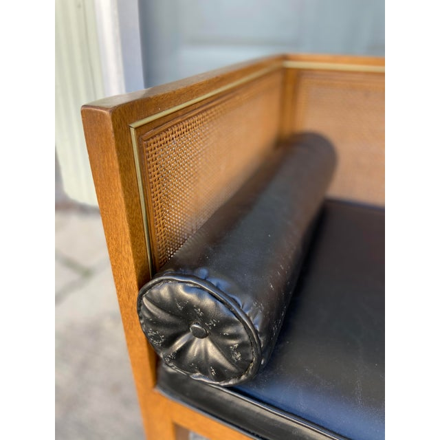 Danish Style Black Leather Bench For Sale - Image 11 of 13