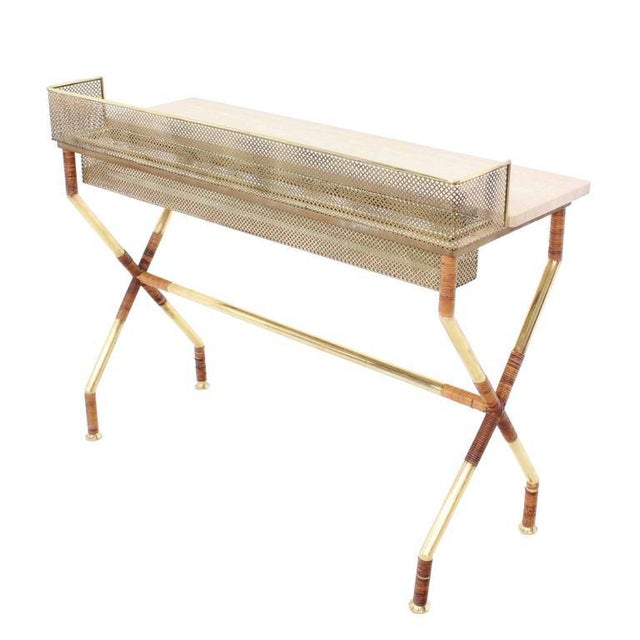 Rare X-Base Brass and Marble-Top Console Table with Planter For Sale - Image 9 of 9