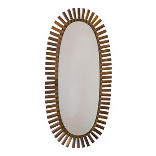 Vintage Oval Rattan Mirror For Sale