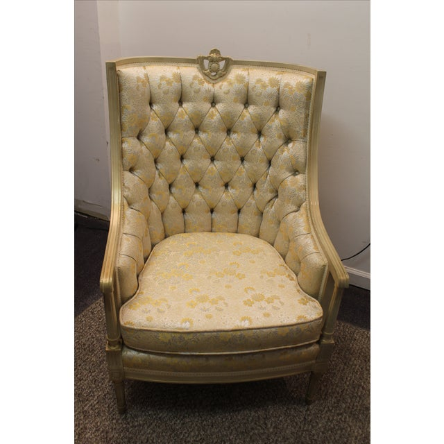 Vintage Tufted Back Louis XV French Bergere Chair - Image 4 of 11