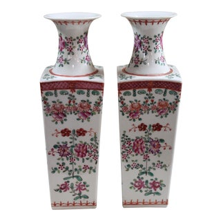 Chinese Famille Rose Vases - a Pair For Sale