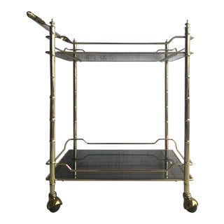 1970s Brass and Smoked Glass Faux Bamboo Bar Cart For Sale