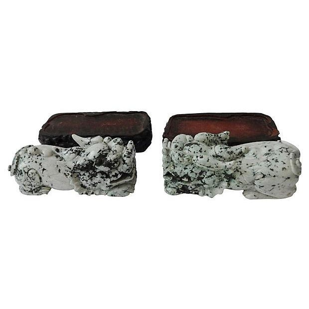 Vintage Spinach Jade Foo Dogs With Stand - A Pair - Image 5 of 7