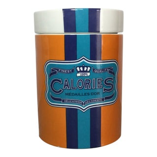 Jonathan Adler 'Calories' Ceramic Canister For Sale