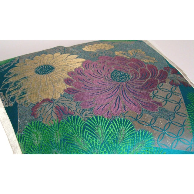 2010s Antique Japanese Silk Obi Lotus Flower Pillow Cover For Sale - Image 5 of 10