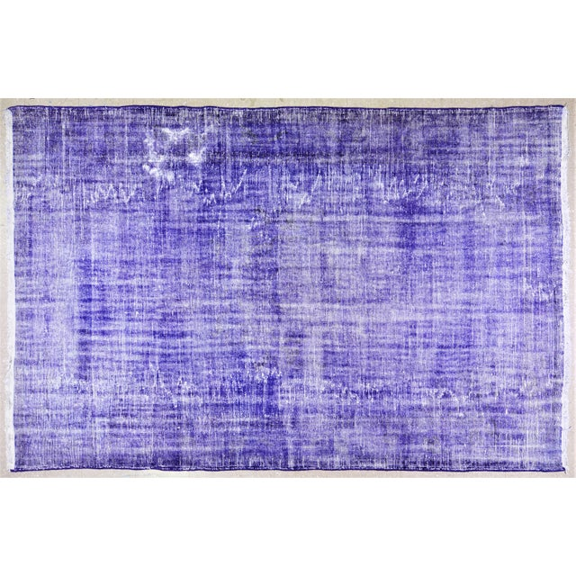 """1960s Vintage Turkish Anatolian Overdyed Hand Knotted Organic Wool Fine Weave Rug,6'9""""x10'6"""" For Sale - Image 5 of 5"""
