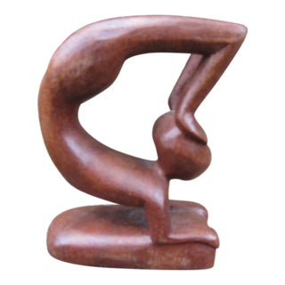 Mid-Century Modern Wood Gymnast Abstract Nude Female Sculpture For Sale